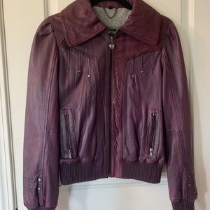 Guess purple leather bomber jacket